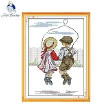 Us 4 66 47 Off Joy Sunday Figure Style Rope Skipping Innocence Cross Stitch Charts Free Needlepoint Patterns Online For Kids In Package From Home