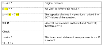 solving one step equations with subtraction