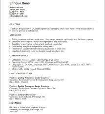 Qa Engineer Resume Example Examples Of Resumes Junior Qa Engineer