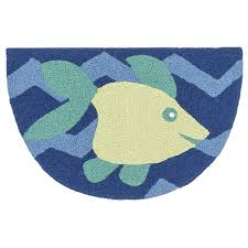 Alexander Home Hand-hooked Marcy Blue/Yellow Fish Hearth Rug (1'9 ...
