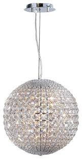 pluto 8 led light chrome finish crystal ball 15 round pendant light small