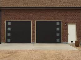 U Black Modern Tech Garage Door With Side Glasses