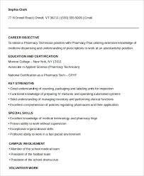 No Experienced Pharmacy Technician Resume Example