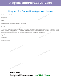 work philosophy example letter cancel the approved leave employee due work office