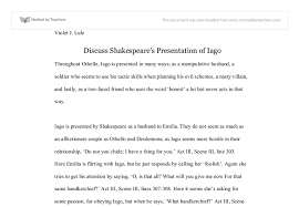 shakespeares presentation of iago a level english marked by  document image preview