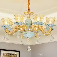 european led chandelier villa living room gold crystal chandeliers bedroom dining room ceramic lamps modern simple restaurant pendant lamps kitchen island