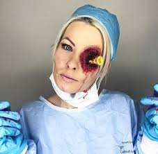 graphic shot in the eye doctor scrubs nurse realistic gory eye love my job makeup easy costume ideas you can do with stuff from around the house