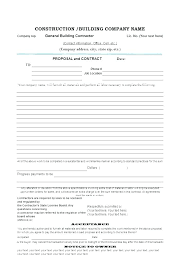 Simple Construction Contract Form Residential Construction Contract