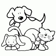 Disegno Di Cane Gatto E Coniglio Da Colorare Per Bambini