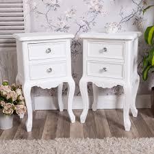 ornate bedroom furniture. Pair Of White Bedside Tables Shabby Vintage Chic Ornate Bedroom Furniture Lamp