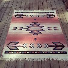 vintage pink southwest navajo inspired print wool area rug pink and grey aztec rug