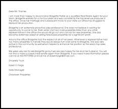 Real Estate Agent Recommendation Letter Example Letter