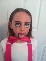 easy ventriloquist dummy costume makeup for kids fake eyelashes white cream makeup black eyeliner red lipstick
