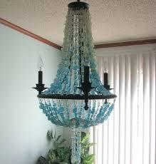 sea glass chandelier. Sea Glass Beaded Chandelier Coastal Decor Beach Design Lighting Fixture The Furniture