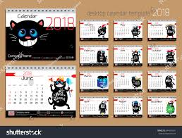 desk calendar with funny cats for 2018 year vector design template with motivational es