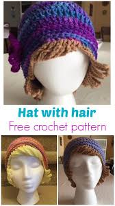 Crochet Chemo Hat Pattern Delectable Crochet Chemo Hat With Hair Free Hat Pattern Crochet Hats