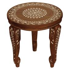 whole 12 round wooden 3 leg stand accent table with removable table legs fl mandala acrylic