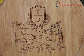 personalised end bamboo round cheese board wedding gift anniversary gift valentines gift enement gift gifts for couple banner style