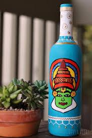 Bottle Painting Designs Images Handpainted Bottle Vase Up Cycled Wine Bottle Kathakali