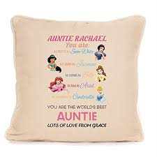best auntie gift personalised disney princess cushion with pad included 18 x 18 inch