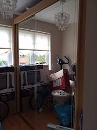 harveys solid wood beech double wardrobe with mirrored sliding door