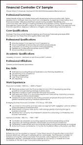 Collection of Solutions Sample Resume Financial Controller Position For  Your Proposal