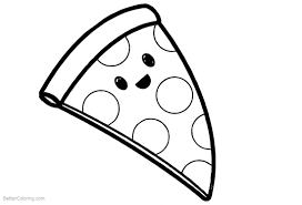 Cute Food Coloring Pages Cartoon Pizza Free Printable Coloring Pages