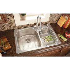 kitchen sink installation glacier bay top mount stainless steel 33x22x9 2 hole double bowl you