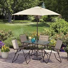 outdoor dining sets with umbrella. Mainstays Glenmeadow 6-Piece Folding Patio Dining Set With Umbrella, Dune, Seats 4 Outdoor Sets Umbrella T