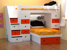 Bedroom:Space Saving Bunk Beds For Adults Breathtaking Bedroom Design With  White Orange Space Saving