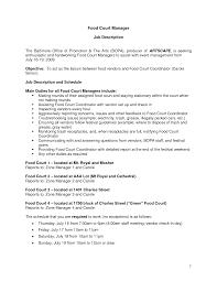 Food Service Resume Keywords Unique Food Service Job Description Resume