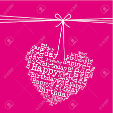 Dangling Heart Over Pink Background Happy Birthday