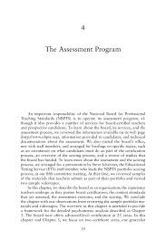 4 The Assessment Program Assessing Accomplished Teaching