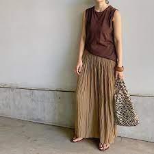 ワッシャー サテン スカート パンツ