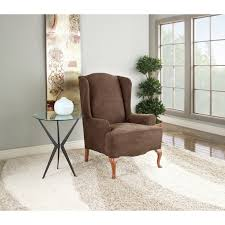 Living Room Chair Slipcovers Sure Fit Stretch Suede Wing Chair Slipcover Reviews Wayfair