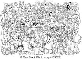 group of people clipart black and white. Beautiful People Black And White People Crowd  Csp41096281 Intended Group Of People Clipart Black And White O