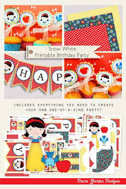 Diy Party Printables Snow White Birthday Party Printables Instant Download