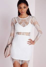 Missguided Lace Long Sleeve Bodycon Dress White Lestat_our