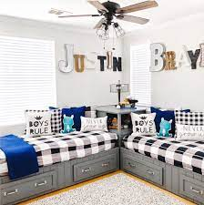 Find unique and uncommon decor for kid's rooms! 40 Beautiful Shared Room For Kids Ideas The Wonder Cottage Shared Boys Rooms Twin Boys Room Kids Shared Bedroom