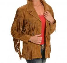 details about qmuk women western vintage brown suede leather jacket with fringe at free p p