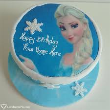 Beautiful Frozen Elsa Birthday Cake With Name