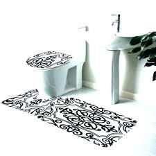 black and white bath rug set bathroom rugs mat sets damask r black and white bath