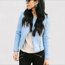 preorder rtp 140 zara blue pastel coloured faux leather zip jacket women s fashion on carou