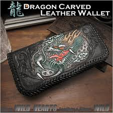 men s wallet biker wallet dragon hand carved leather genuine cowhide handcrafted custom handmade wild hearts leather silver id lw2556