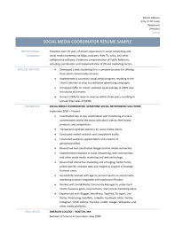 Awesome Collection Of Social Media Coordinator Resume Sample For