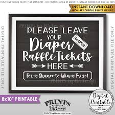 raffle sign diaper raffle ticket sign leave your raffle ticket here raffle