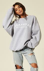 Calabasas Long Sleeve Size Chart Calabasas Los Angeles Slogan Sweater Cosy Oversized Baggy Lounge Gym Long Sleeve Pullover Knitwear Jumper T Shirt Tops By Pharaoh London
