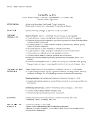 Resume Examples for English Teachers