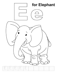 Small Picture E for elephant coloring page with handwriting practice Download
