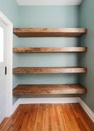 simplistic wooden floating shelves